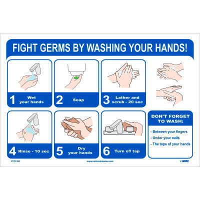 "Fight Germs By Washing Your Hands Poster, 12"" X 18"", Vinyl"