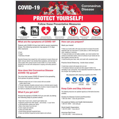 "COVID-19 Protect Yourself Poster, 18"" X 24"", Synthetic Paper"