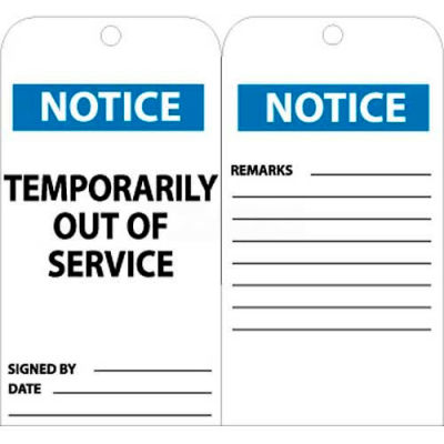 """NMC RPT148 Tags, Temporarily Out Of Service, 6"""" X 3"""", White/Blue, 25/Pk"""
