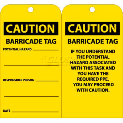 "NMC RPT166 Tags, Caution Barricade Tag, 6"" X 3"", Yellow/Black, 25/Pk"