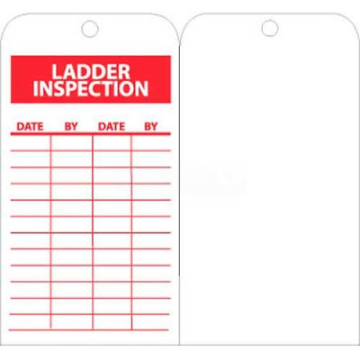 """NMC RPT168 Tags, Ladder Inspection, 6"""" X 3"""", White/Red, 25/Pk"""