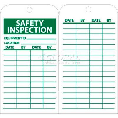 "NMC RPT170 Tags, Safety Inspection, 6"" X 3"", White/Green, 25/Pk"