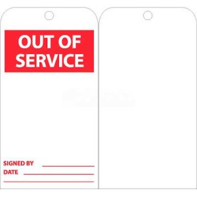 """NMC RPT176 Tags, Out Of Service, 6"""" X 3"""", White/Red, 25/Pk"""