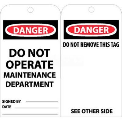 """NMC RPT2 Tags, Danger Do Not Operate Maintenance Dept, 6"""" X 3"""", White/Red/Black, 25/Pk"""