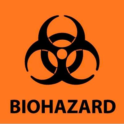 "NMC S52P Warning Sign, Biohazard, 7"" X 7"", Orange/Black"