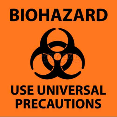 "NMC S95R See Sign, Biohazard Use Universal Precautions, 7"" X 7"", Orange/Black"