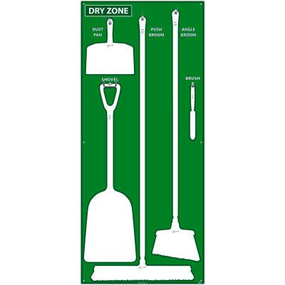 National Marker Dry Zone Shadow Board, Green/White,68 X 30, Pro Series Acrylic - SB133FG