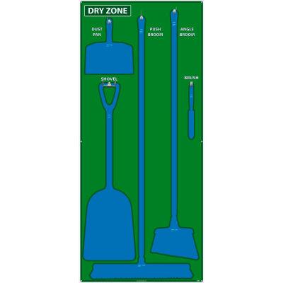 National Marker Dry Zone Shadow Board, Green/Blue,68 X 30, ACP, Aluminum Composite Panel - SB135ACP