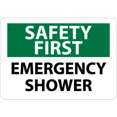 "NMC SF43RB OSHA Sign, Safety First - Emergency Shower, 10"" X 14"", White/Green/Black"