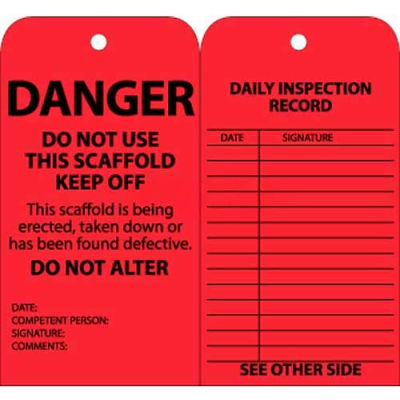 """NMC SPT1 Tags, Scaffold Inspection W/Grommet, 6"""" X 3"""", Red, 25/Pk"""