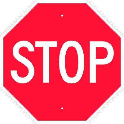 """NMC TM13H Traffic Sign, Stop Sign, .063 MIL, 24"""" X 24"""", White/Red"""