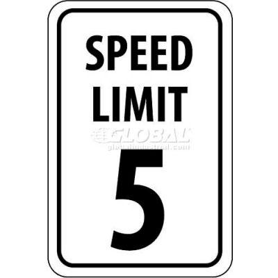 "NMC TM17G Traffic Sign, 5 MPH Speed Limit Sign, 18"" X 12"", White/Black"