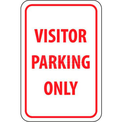 """NMC TM7G Traffic Sign, Visitor Parking Only, 18"""" X 12"""", White/Red"""