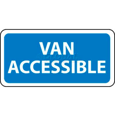 "NMC TMA1H Traffic Sign, Van Accessible, 6"" X 12"", White/Blue"