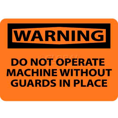 """NMC W261RB OSHA Sign, Warning Do Not Operate Machine Without Guards, 10"""" X 14"""", Orange/Black"""