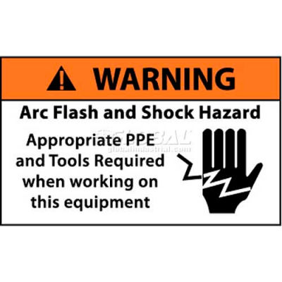 "NMC WGA35AP Arc Flash Labels, Warning Arc Flash & Shock Hazard Appropriate PPE, 3"" X 5"", Wht/Rd/Blk"