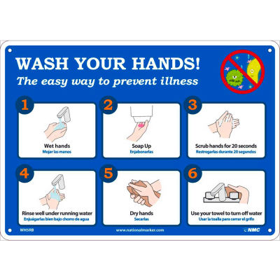 """Wash Your Hands Sign, 10"""" X 14"""", Plastic"""