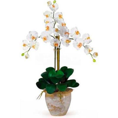 Nearly Natural Triple Phalaenopsis Silk Orchid Flower Arrangement, Cream