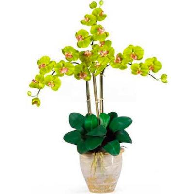 Nearly Natural Triple Phalaenopsis Silk Orchid Flower Arrangement, Green
