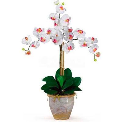 Nearly Natural Triple Phalaenopsis Silk Orchid Flower Arrangement, White