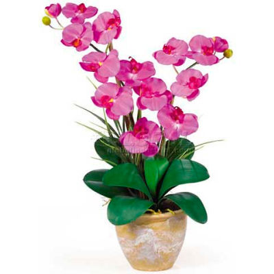 Nearly Natural Double Phalaenopsis Silk Orchid Flower Arrangement, Orchid