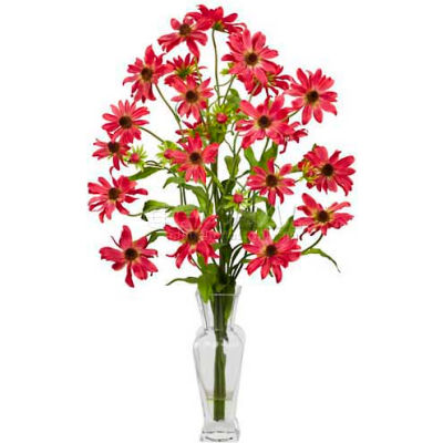 Nearly Natural Cosmos with Vase Silk Flower Arrangement, Red