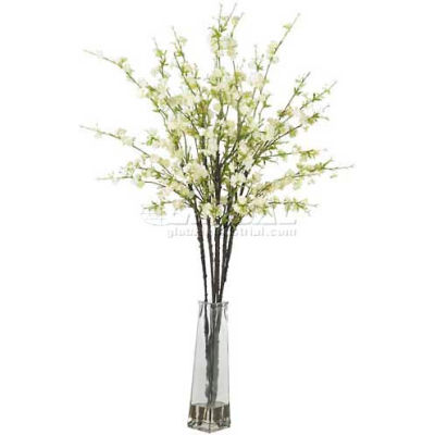 Nearly Natural Cherry Blossoms with Vase Silk Flower Arrangement, White