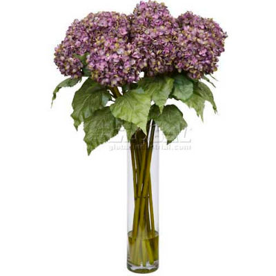 Nearly Natural Hydrangea Silk Flower Arrangement, Purple