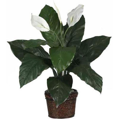 Nearly Natural Spathiphyllum with Wicker Silk Plant