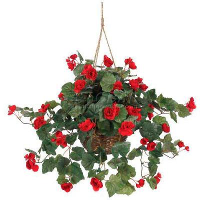 Nearly Natural Begonia Hanging Basket