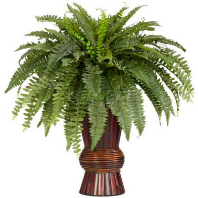 Nearly Natural Boston Fern with Bamboo Vase Silk Plant