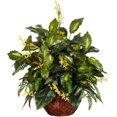 Nearly Natural Forsythia & Mixed Greens Silk Plant