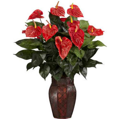 Nearly Natural Anthurium with Vase Silk Plant