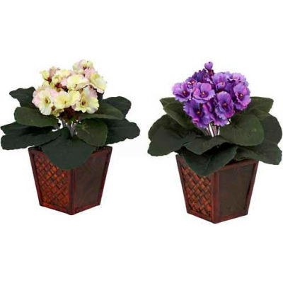Nearly Natural African Violet with Vase Silk Plant (Set of 2)