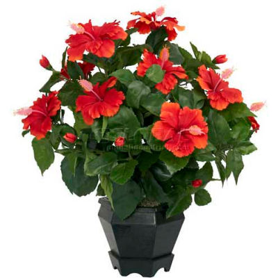Nearly Natural Hibiscus with Black Hexagon Vase Silk Plant