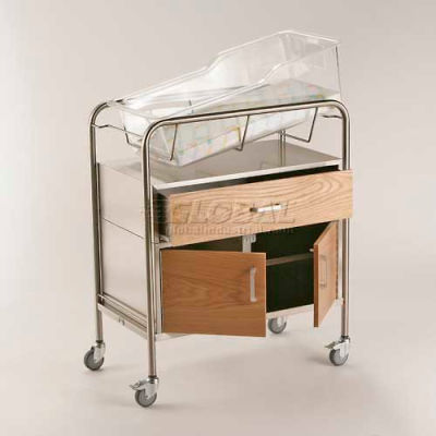 """NK Medical Bassinet with Wood Front and Drawer & Cabinet NB-WFxDC, 31""""L x 17-1/2""""W x 37-3/4""""H"""