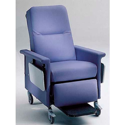 """NK Medical Recliner, 5"""" Casters, Push Bar & Side Table, Colonial Blue"""