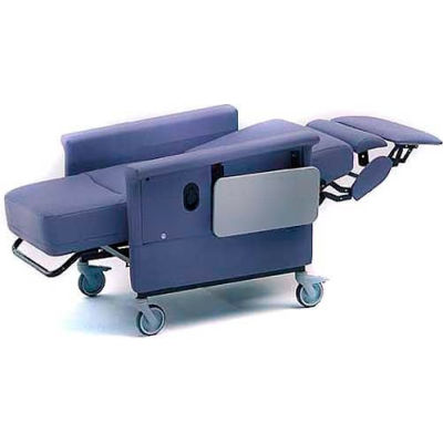 """NK Medical Recliner with Infinite Recline, 5"""" Casters, Push Bar & Side Table, Gray"""