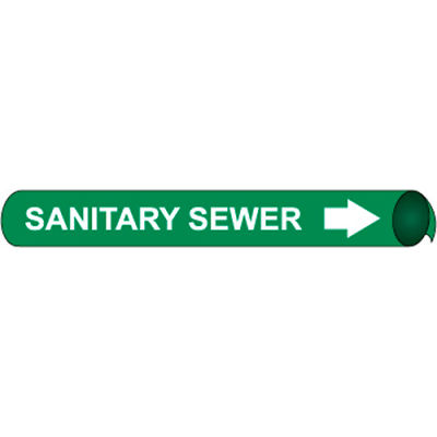 Precoiled and Strap-on Pipe Marker - Sanitary Sewer