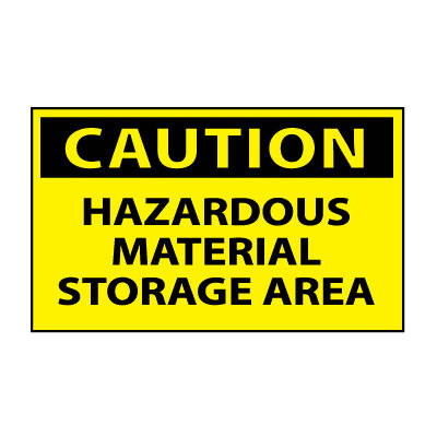 Machine Labels - Caution Hazardous Material Storage Area