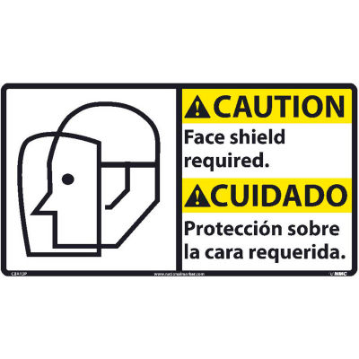 Bilingual Vinyl Sign - Caution Face Shield Required