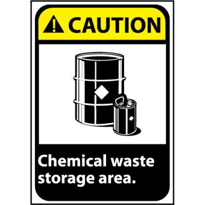 Caution Sign 14x10 Rigid Plastic - Chemical Waste Storage Area