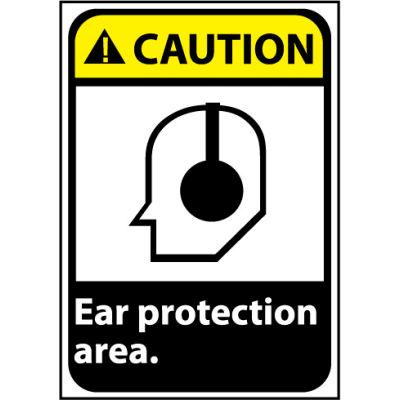 Caution Sign 14x10 Vinyl - Ear Protection Area