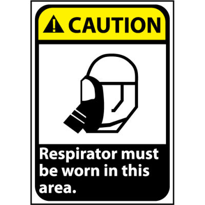 Caution Sign 14x10 Vinyl - Respirator Must Be Worn