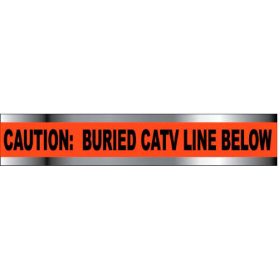 "Detectable Underground Warning Tape - Caution Buried CATV Line Below - 2""W"