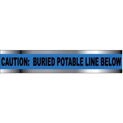 "Detectable Underground Warning Tape - Caution Buried Potable Line Below - 6""W"