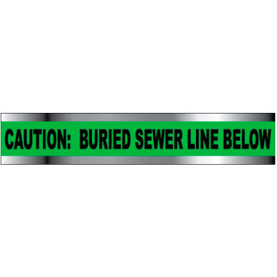"""Detectable Underground Warning Tape - Caution Buried Sewer Line Below - 6""""W"""