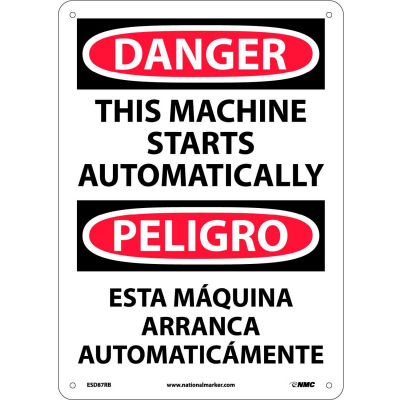 Bilingual Plastic Sign - Danger This Machine Starts Automatically