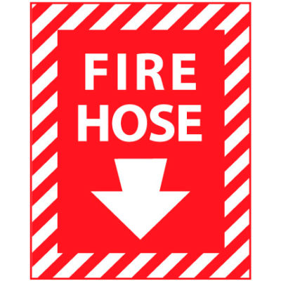 Fire Safety Sign - Fire Hose with Down Arrow - Plastic