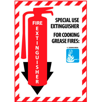 Fire Extinguisher Class Marker - Special Use For Cooking Grease Fires - Plastic